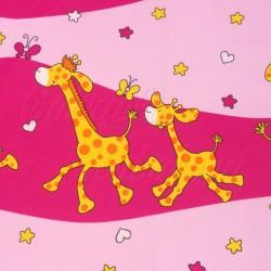Zbytek - plátno - Žirafky na růžové barvě, šíře 140 cm, 90 cm