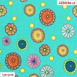 Plátno USA - QT Carnivale - Květinky na tyrkysové 26373Q, šíře 110 cm, 10 cm