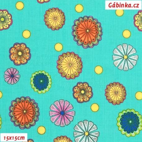 Plátno USA - QT Carnivale - Květinky na tyrkysové, 15x15 cm