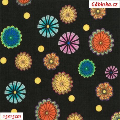 Plátno USA - QT Carnivale - Květinky na černé, 15x15 cm