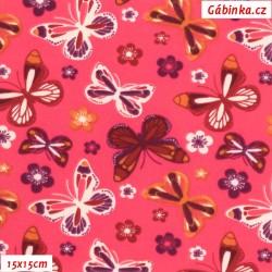 Látka softshell - Motýlci na růžové, šíře 145 cm, 15x15 cm