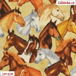 Plátno USA - QT Mustang Sunset - Hlavy mustangů na smetanové 26483E, šíře 110 cm, 10 cm