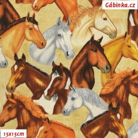 Plátno USA - QT Mustang Sunset - Hlavy mustangů na smetanové 26483E, 15x15 cm
