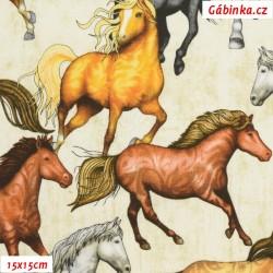Plátno USA - QT Mustang Sunset - Mustangové na smetanové, 15x15 cm