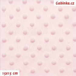 Plyš MINKY, puntíky světle růžové, 15x15cm
