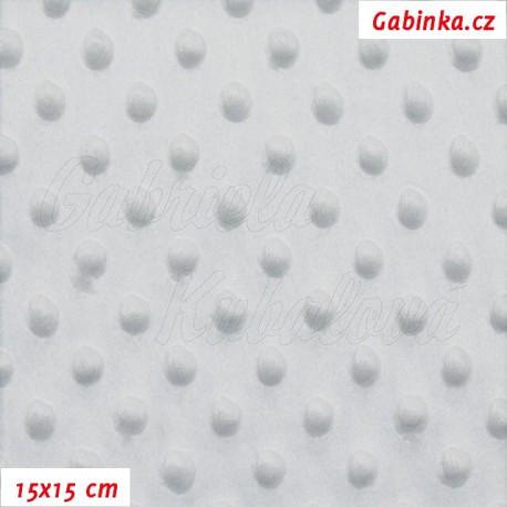 Plyš MINKY, puntíky světle šedé, 15x15cm
