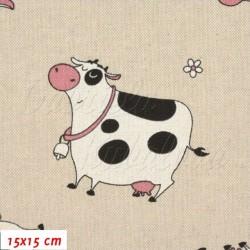 Režné plátno, Strakaté kravičky, 15x15cm