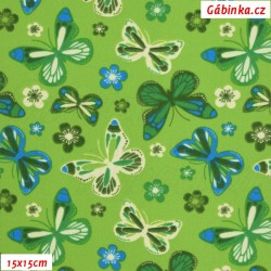 Látka softshell - Motýlci na zelené, 15x15 cm