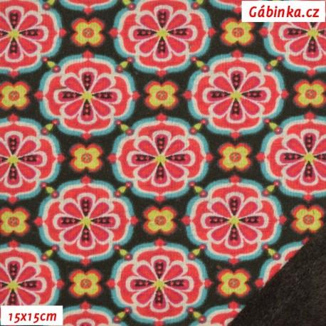 Warmkeeper - teplákovina a fleece - Květiny/ornamenty červené na hnědé, 15x15 cm