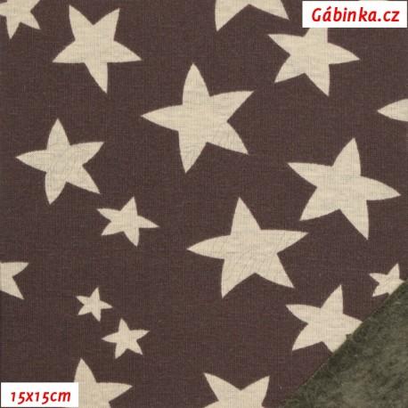 Warmkeeper - teplákovina a fleece - Hvězdy smetanové na hnědé, 15x15 cm