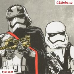 Látka plátno - Star Wars na šedé, LICENCE, 15x15 cm