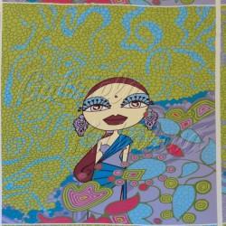 Viskóza - Indická dívka, zelená, šíře 145 cm, 79 cm