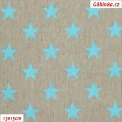 Plátno - Hvězdičky tyrkysové na šedé, šíře 160 cm, 10 cm