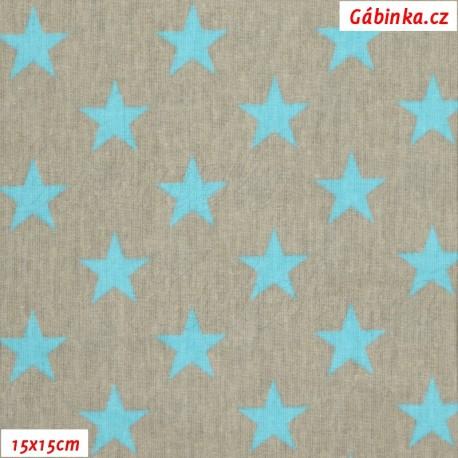 Látka plátno - Hvězdičky tyrkysové na šedé, 15x15 cm
