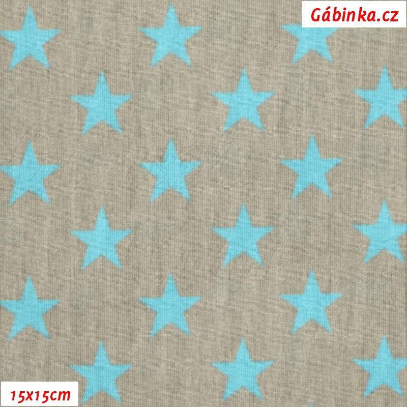 Látka plátno - Hvězdičky tyrkysové na šedé d7a2fc320b