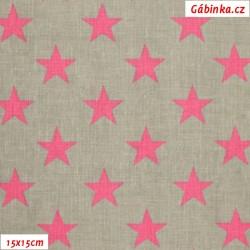 Látka plátno - Hvězdičky růžové na šedé, šíře 160 cm, 10 cm