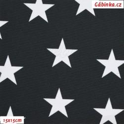 Kočárkovina Premium, Hvězdy na černé, šíře 155 cm, 10 cm, ATEST 1