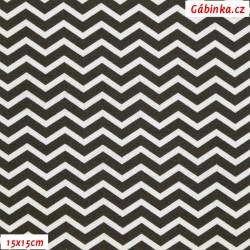 Plátno - MINI cik-cak černý a bílý, 15x15 cm