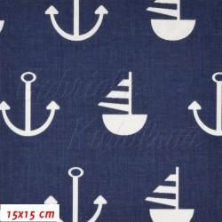Zbytek - Látka, plátno - Kotvy a loďky bílá na tm. modré, šíře 160 cm, 15 cm