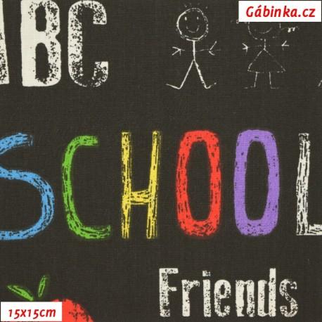 Látka plátno STOF - Škola na černé, 15x15 cm