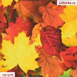 Látka úplet s EL Digitální tisk - Podzimní listí, ATEST, 15x15 cm