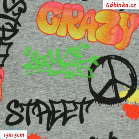 Látka úplet s EL Digitální tisk - Graffiti na šedé, ATEST, 15x15 cm