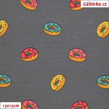 Látka úplet s EL - Donuty na tmavě šedé, ATEST, 15x15 cm