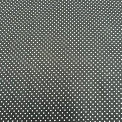 Plátno - Puntíky 2 mm bílé na černé, šíře 140 cm, 10 cm, ATEST 1
