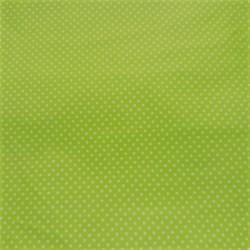 Plátno - Puntíky 2 mm bílé na jarní zelené , šíře 140 cm, 10 cm, ATEST 1