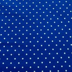 Plátno - Puntíky 3 mm bílé na modré K, šíře 150 cm, 10 cm, ATEST 1