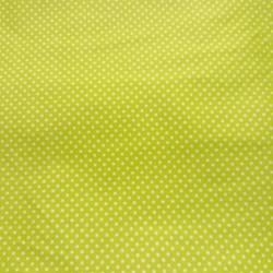 Plátno - Puntíky 2 mm bílé na žlutozelené , šíře 140 cm, 10 cm, ATEST 1