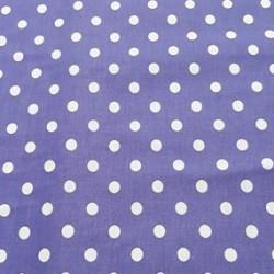 Látka plátno - Bílé puntíky 9 mm na fialové, šíře 150 cm, 10 cm