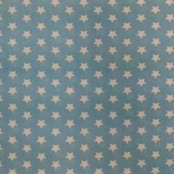 Plátno - Hvězdičky 10 mm bílé na světle modré, šíře 150 cm, 10 cm