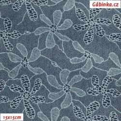Riflovina - Háčkované květy na tmavě modré, 15x15 cm