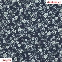 Riflovina - Drobné kytičky na tmavě modré, šíře 140 cm, 10 cm