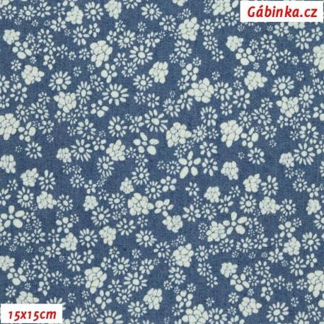 Riflovina - Drobné kytičky na světle modré,, šíře 140 cm, 10 cm