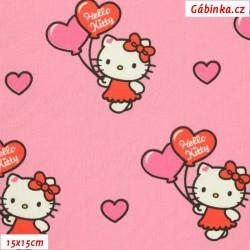 Látka plátno - Hello Kitty s balónky-srdíčky na růžové, 15x15 cm