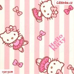 Plátno - Hello Kitty na sv. růžových a bílých proužcích, šíře 140 cm, 10 cm