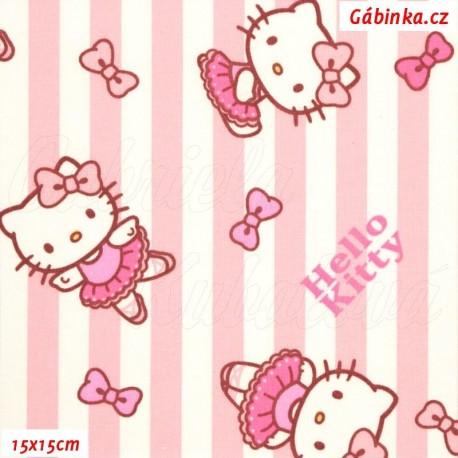 Látka plátno - Hello Kitty na sv. růžových a bílých proužcích, 15x15 cm