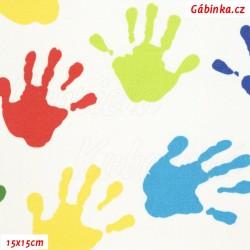 Látka, plátno - Barevné ruce na bílé, 15x15 cm