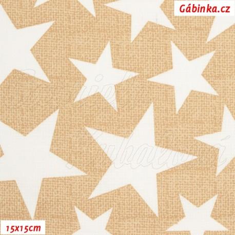 Plátno - Hvězdy mix 3 - 7 cm bílé na béžové, 15x15 cm