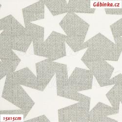 Plátno - Hvězdy 3-7 cm bílé na šedé, ATEST 1 , šíře 140 cm, 10 cm