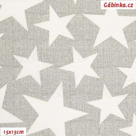 Plátno - Hvězdy 3-7 cm bílé na šedé, 15x15 cm