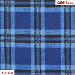 Látka, flanel - Modrá kostka, šíře 155 cm, 10 cm