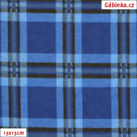 Látka, flanel - Modrá kostka, 15x15 cm