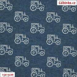 Látka úplet s EL - Traktory na modrém melíru, 15x15 cm