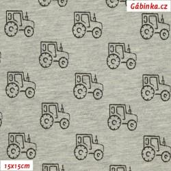 Látka úplet s EL - Traktory na sv. šedém melíru, 15x15 cm