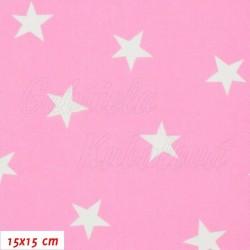 Plátno - Nerovnoměrné hvězdičky 24 mm bílé na růžové, šíře 150 cm, 10 cm, ATEST 1
