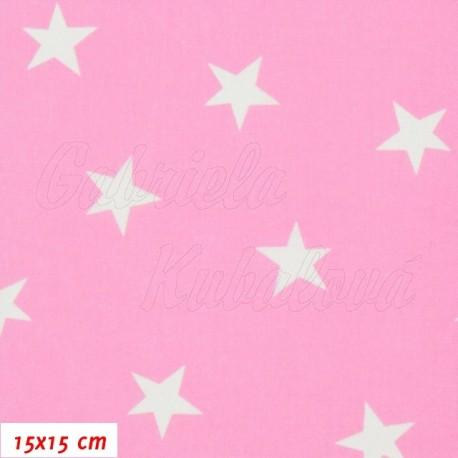 Plátno, Nerovnoměrné hvězdičky 24 mm bílé na růžové, 15x15 cm