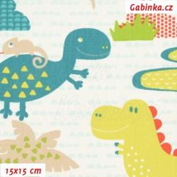 Plátno, Dinosauři žlutí a zelení na bílé, 15x15cm